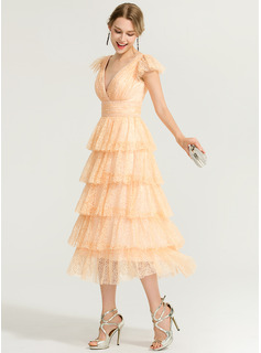 A-Line V-neck Tea-Length Lace Cocktail Dress