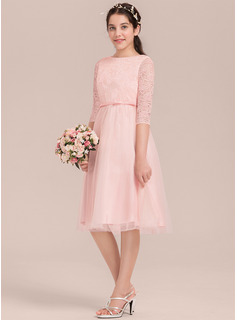 A-Line Knee-length - Satin/Tulle/Lace 3/4 Sleeves Scoop Neck With Bow(s)