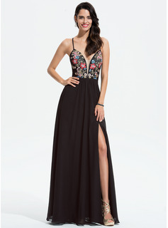 A-Line V-neck Floor-Length Chiffon Prom Dresses With Lace Sequins