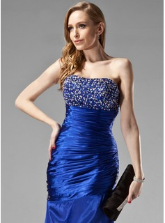Trumpet/Mermaid Sweetheart Floor-Length Charmeuse Evening Dress With Ruffle Beading Sequins