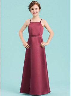 A-Line Square Neckline Floor-Length Satin Junior Bridesmaid Dress With Bow(s)