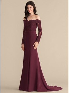 Trumpet Mermaid Off The Shoulder Court Train Chiffon Lace Bridesmaid Dress