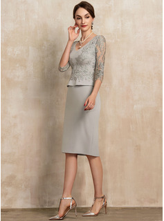 Sheath/Column V-neck Knee-Length Lace Stretch Crepe Mother of the Bride Dress