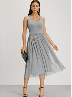 Cotton With Stitching/Solid Midi Dress