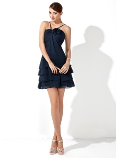 A-Line/Princess V-neck Short/Mini Chiffon Bridesmaid Dress With Flower(s)