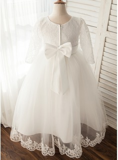 Tea-length Flower Girl Dress - Tulle Long Sleeves Scoop Neck With Appliques
