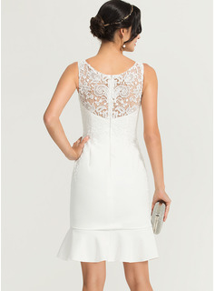 scalloped lace a-line cocktail dress