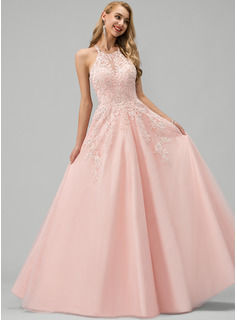 Ball-Gown/Princess Scoop Neck Floor-Length Tulle Wedding Dress With Lace Beading Sequins