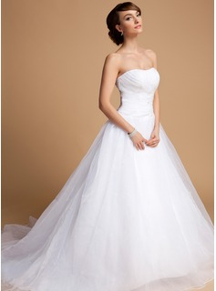 Ball-Gown Sweetheart Chapel Train Organza Wedding Dress With Ruffle Beading Appliques Lace Sequins