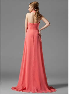 A-Line Halter Sweep Train Chiffon Bridesmaid Dress With Ruffle Flower(s)