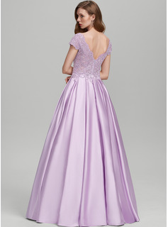 Ball-Gown/Princess V-neck Floor-Length Satin Prom Dresses With Sequins Pockets
