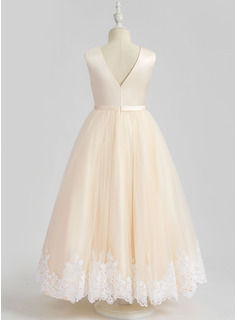 Ball-Gown/Princess Ankle-length Flower Girl Dress - Sleeveless Scalloped Neck With Lace/Sequins
