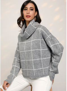 Chunky knit Grid Polyester Turtleneck Pullovers Sweaters