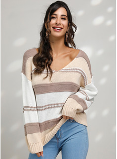 Color Block Cable-knit Chunky knit Polyester V-neck Pullovers Sweaters