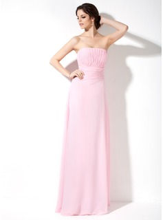 A-Line/Princess Strapless Floor-Length Chiffon Bridesmaid Dress With Ruffle