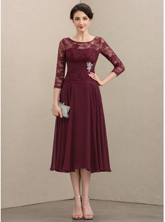 Scoop Neck Tea-Length Chiffon Lace Mother of the Bride Dress