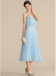 V-neck Tea-Length Chiffon Cocktail Dress With Pleated