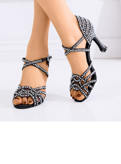 Women's Satin Sandals Latin Belly Ballroom With Rhinestone Dance Shoes