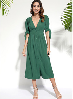 Polyester/Cotton With Button Midi Dress
