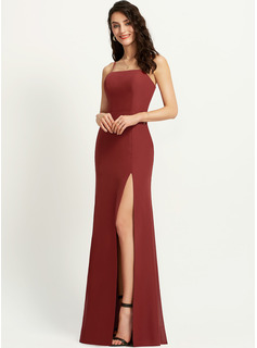 Sheath/Column Square Neckline Floor-Length Bridesmaid Dress With Split Front