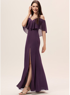 Sheath/Column Off-the-Shoulder Floor-Length Chiffon Bridesmaid Dress With Split Front