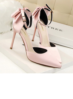 Women's Satin Stiletto Heel Sandals Pumps Closed Toe With Bowknot Braided Strap shoes