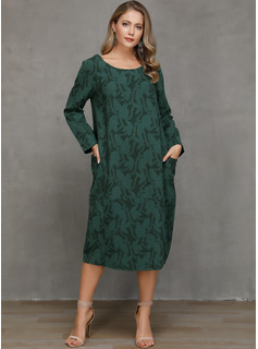 Cotton With Print/Jacquard/Solid Knee Length/Midi Dress