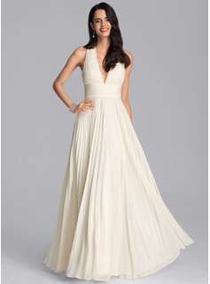 V-neck Floor-Length Chiffon Prom Dresses With Pleated