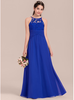 Empire Scoop Neck Floor-Length Chiffon Junior Bridesmaid Dress With Ruffle