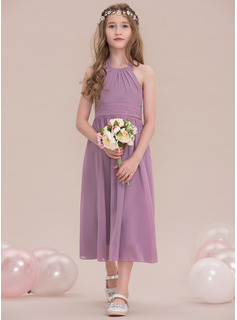 Halter Tea-Length Chiffon Junior Bridesmaid Dress