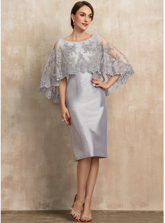 Sheath/Column Scoop Neck Knee-Length Taffeta Lace Mother of the Bride Dress With Beading Sequins
