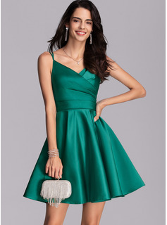 V-Neck Short/Mini Satin Cocktail Dress With Ruffle Pockets
