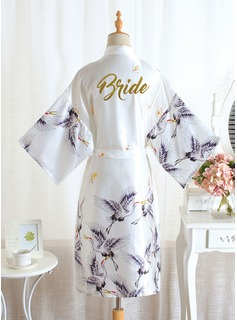 Non-personalized Polyester Bride Floral Robes Glitter Print Robes