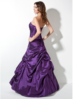 Trumpet/Mermaid Strapless Floor-Length Taffeta Prom Dresses With Ruffle