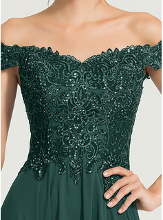 Off-the-Schulter Sweep/Pinsel zug Chiffon Abiballkleid mit Pailletten Schlitz Vorn