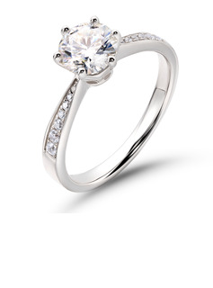 Side Stones Round Cut 925 Silver Promise Rings