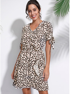 Polyester With Print/PolkaDot Above Knee Dress
