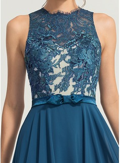 A-Line/Princess Scoop Neck Floor-Length Chiffon Evening Dress With Bow(s)