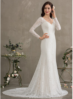 long sleeve champagne wedding dress