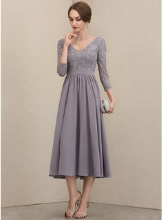 A-Line V-neck Tea-Length Chiffon Lace Mother of the Bride Dress With Beading Sequins