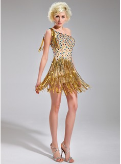 Sheath/Column One-Shoulder Short/Mini Chiffon Cocktail Dress With Beading Sequins