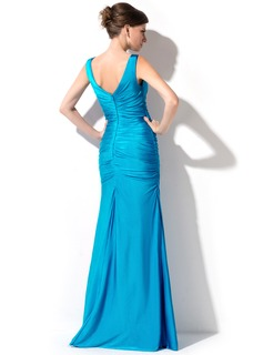 Trumpet/Mermaid V-neck Floor-Length Jersey Evening Dress With Ruffle Beading Sequins