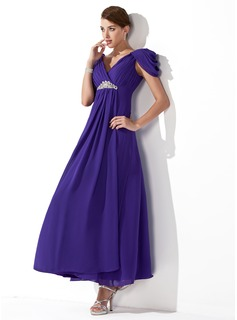 A-Line/Princess V-neck Ankle-Length Chiffon Bridesmaid Dress With Ruffle Beading