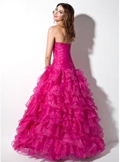 Ball-Gown Strapless Floor-Length Organza Quinceanera Dress With Cascading Ruffles