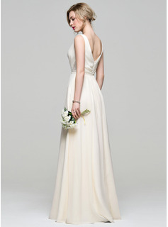 V-neck Floor-Length Chiffon Bridesmaid Dress With Ruffle Lace Beading Sequins