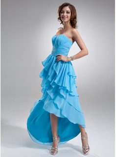 With a Line Princess Sweetheart Asymmetrical Chiffon Prom Dress