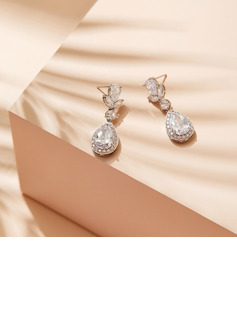 Non-personalized Ladies' Shining Rhinestones/Copper Earrings For Her
