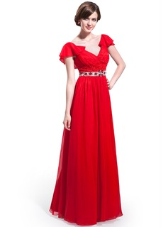 A-Line/Princess V-neck Floor-Length Chiffon Prom Dress With Beading Sequins Cascading Ruffles