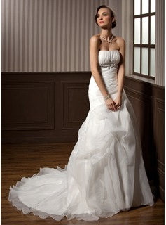 A-Line/Princess Strapless Chapel Train Satin Organza Wedding Dress With Ruffle Beading