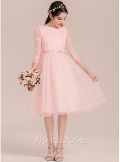 A-Line Knee-length Flower Girl Dress - Tulle 3/4 Sleeves Scalloped Neck/Scoop Neck With Bow(s)